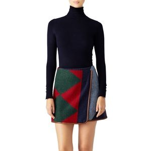 Tory Burch Cheval Leather Trim Wrap Skirt